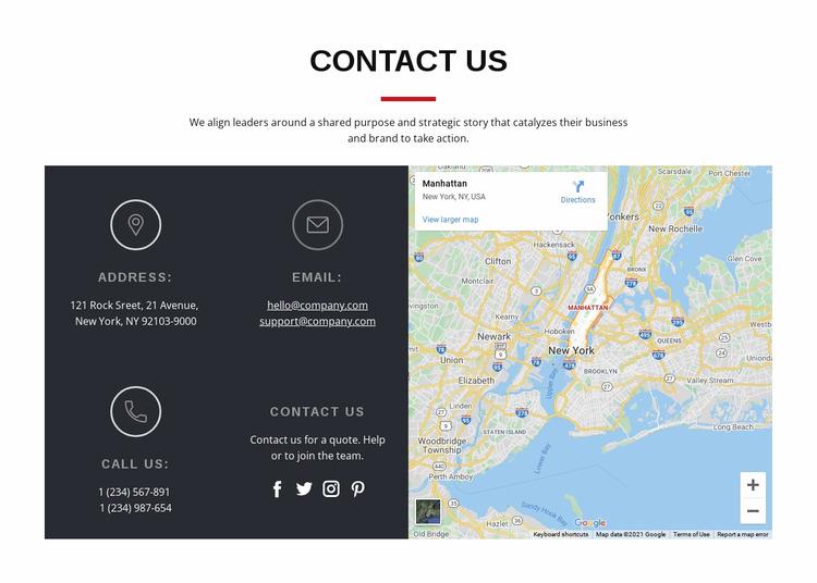 Contact block with map WordPress Website Builder