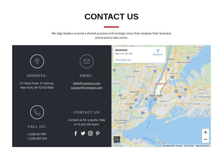 Contact block with map Wysiwyg Editor Html