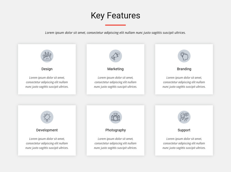 Key features HTML5 Template