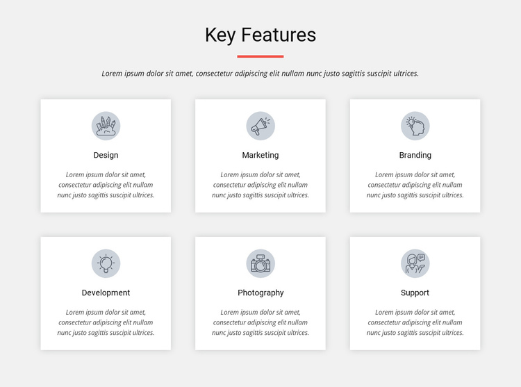 Key features One Page Template