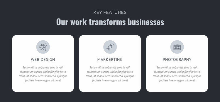 Our work transforms businesses Html Website Builder