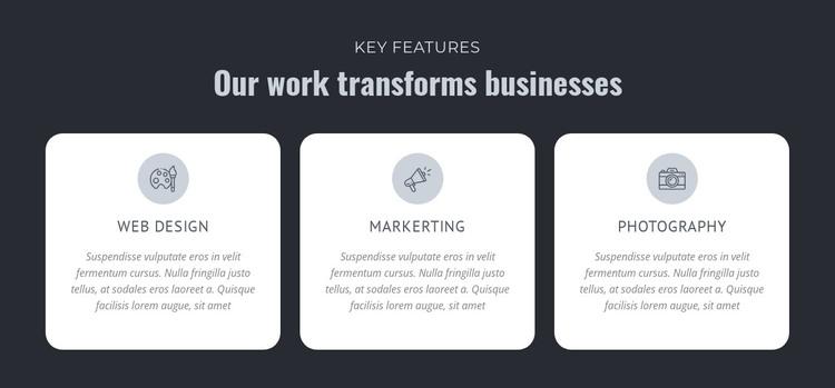Our work transforms businesses Web Design