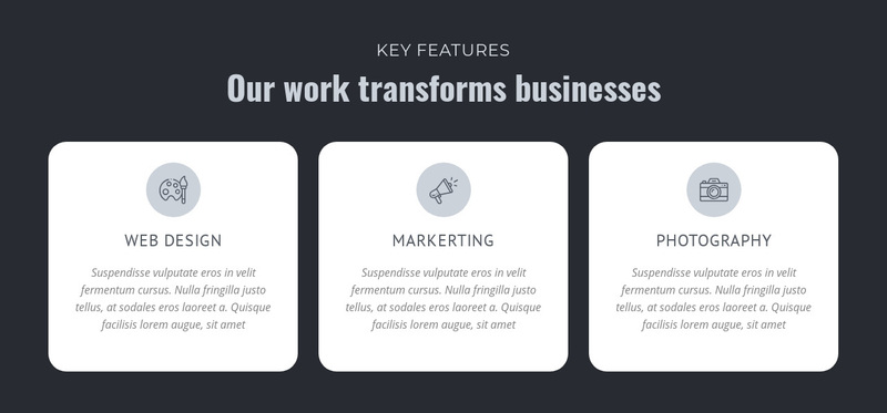 Our work transforms businesses Web Page Design