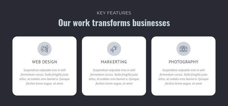 Our work transforms businesses Website Mockup