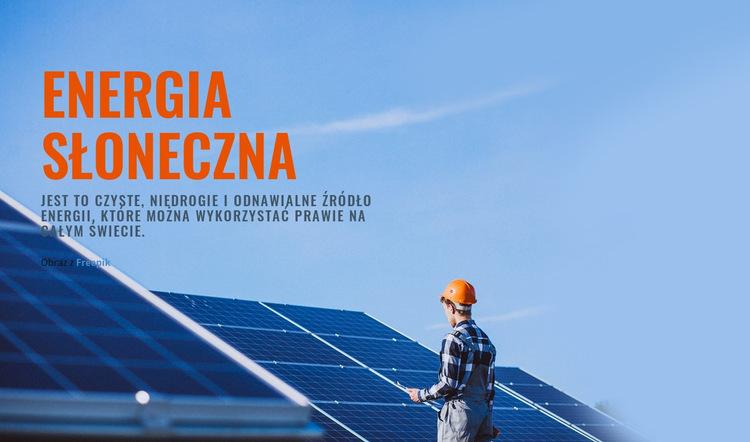 Produkty energii słonecznej Szablon witryny sieci Web