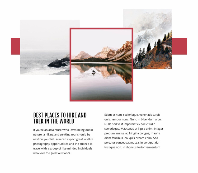 Best places to hike  Website Mockup
