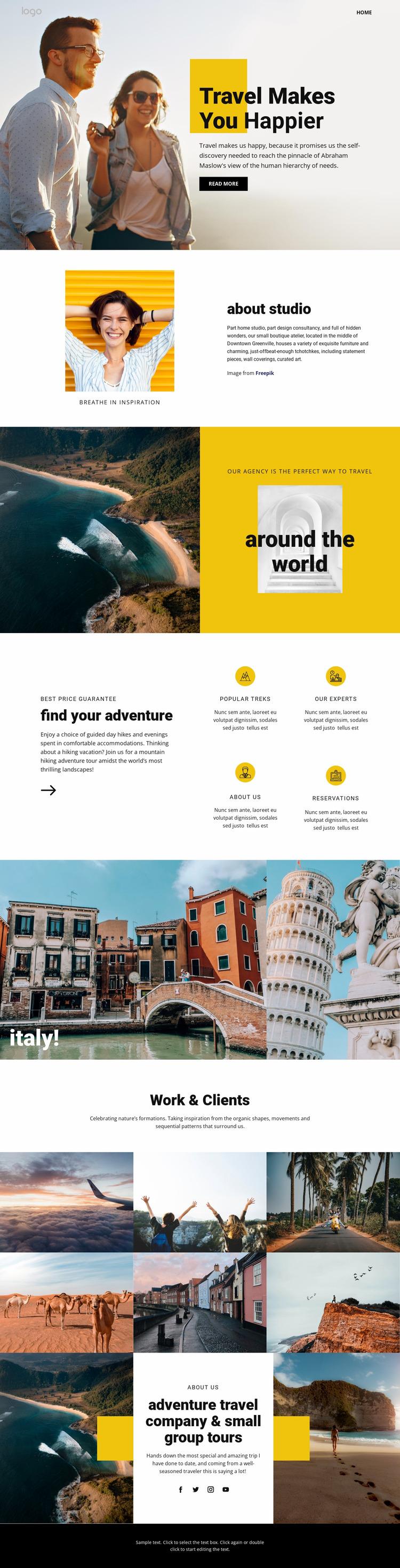 Get happier with great travel Website Mockup