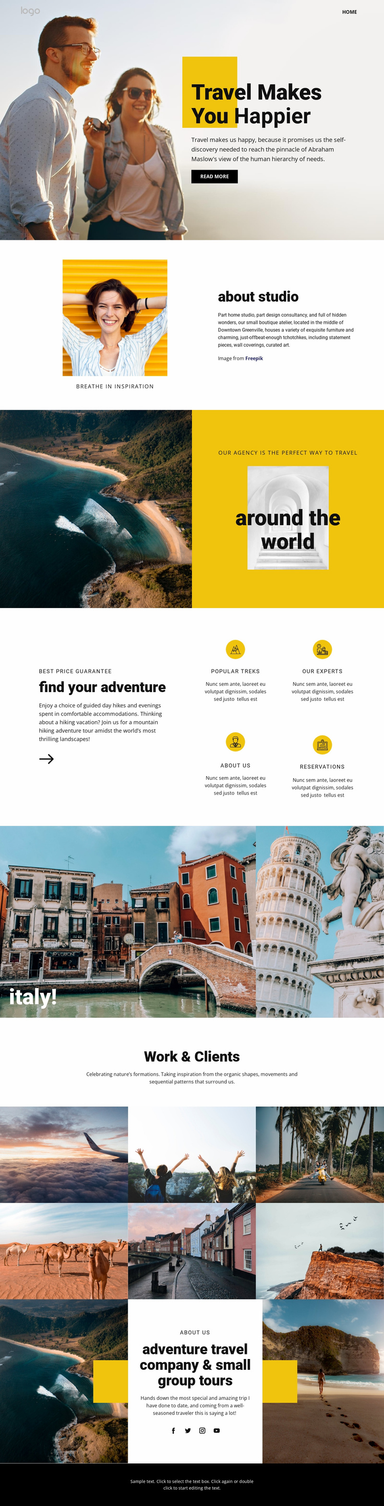Get happier with great travel Website Template