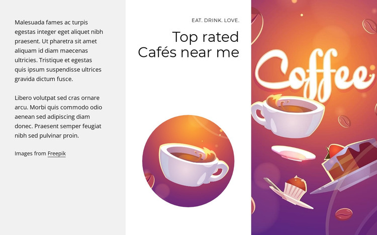 Top rated cafes HTML Template