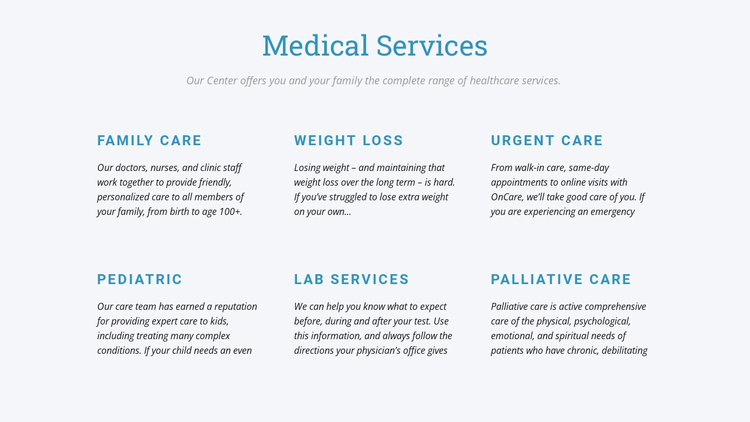 Healthcare and medical services Landing Page