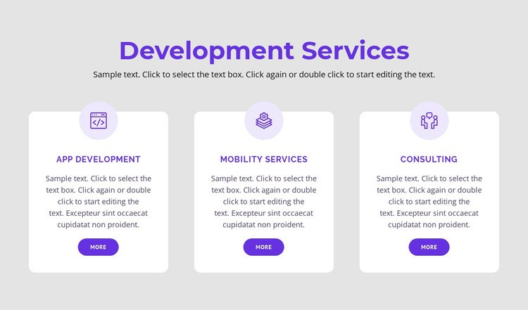 Our development services Html Code Example