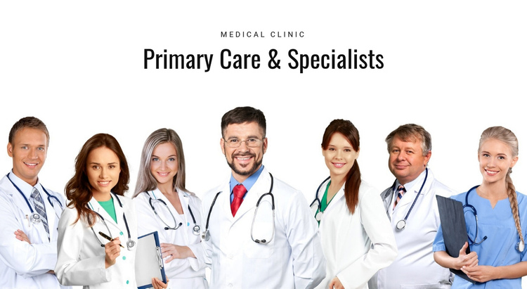 Primary care and specialists One Page Template