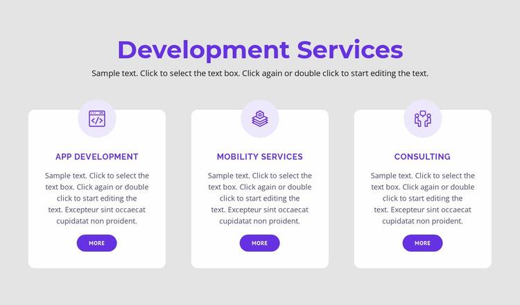Our development services Website Mockup