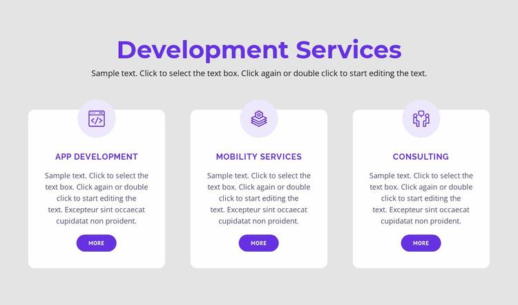 Our development services Website Template