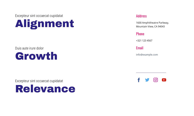 Alignment, growth, relevance HTML5 Template