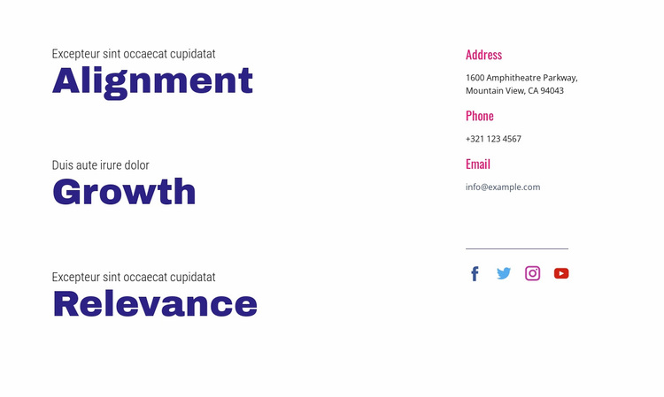 Alignment, growth, relevance Website Design