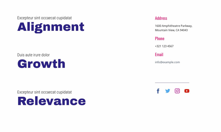 Alignment, growth, relevance Website Template