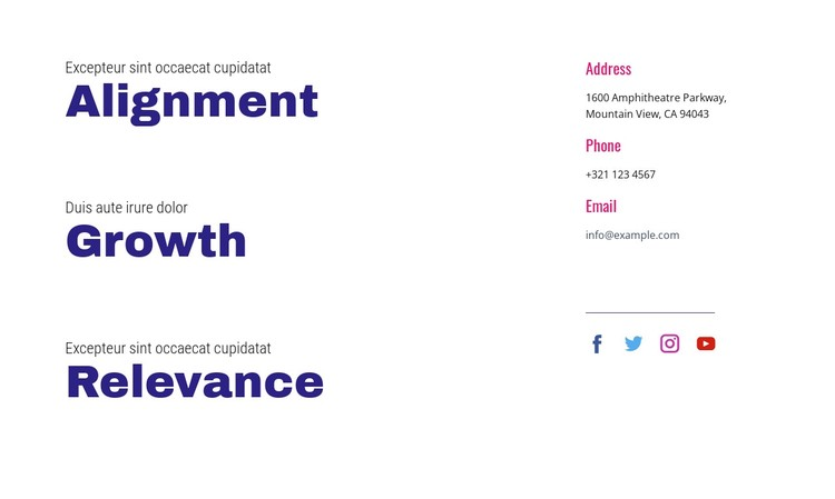 Alignment, growth, relevance WordPress Template