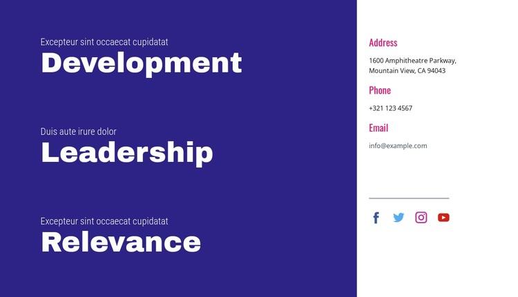 Development, leadership, relevance CSS Template