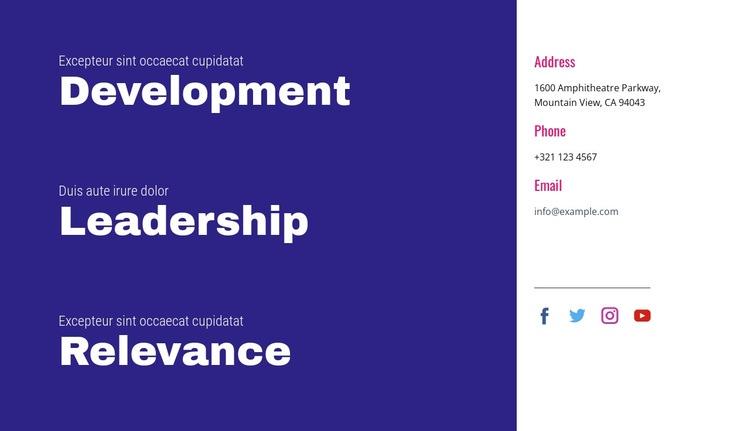 Development, leadership, relevance Html Code Example