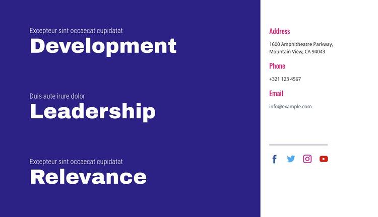 Development, leadership, relevance HTML5 Template