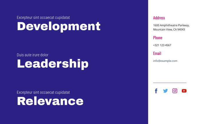 Development, leadership, relevance One Page Template