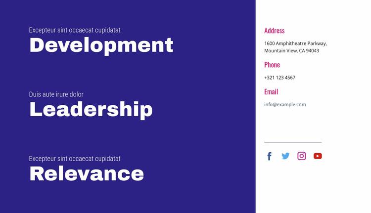 Development, leadership, relevance Website Design