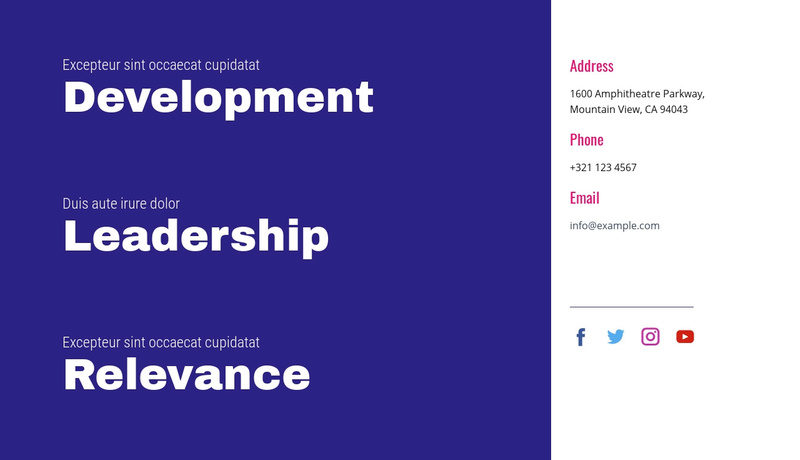Development, leadership, relevance Website Maker