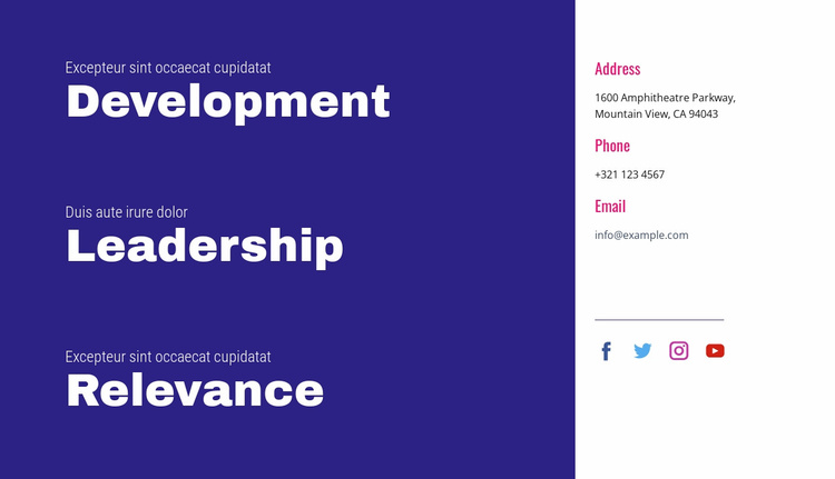 Development, leadership, relevance Landing Page