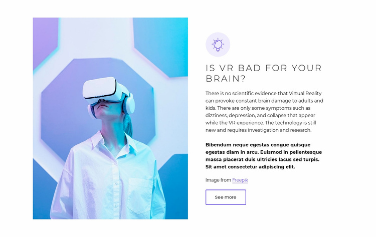 Virtual reality has real problems Website Template