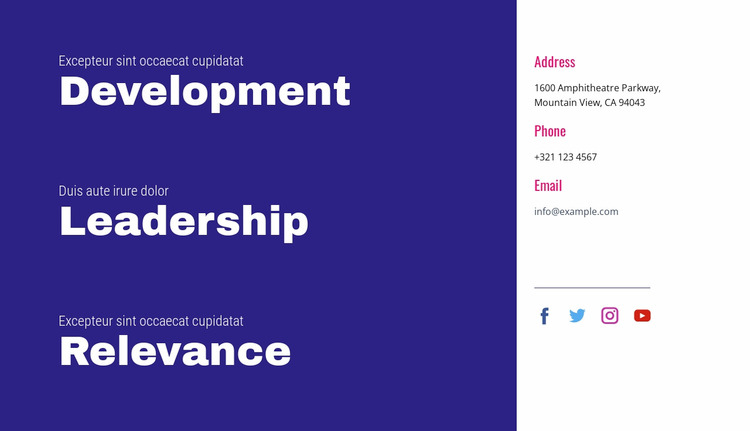Development, leadership, relevance WordPress Website Builder