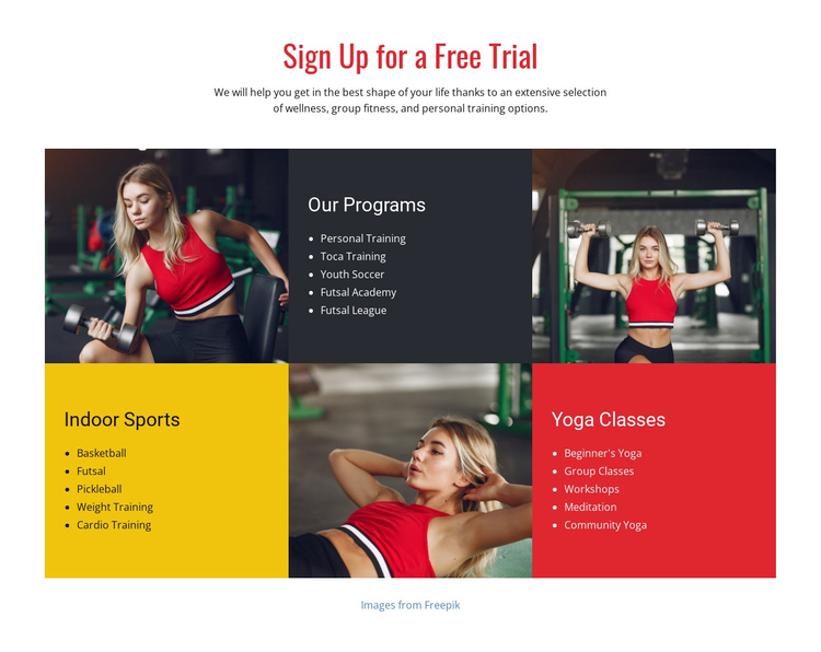 Programs for all levels of athletes Website Builder Software