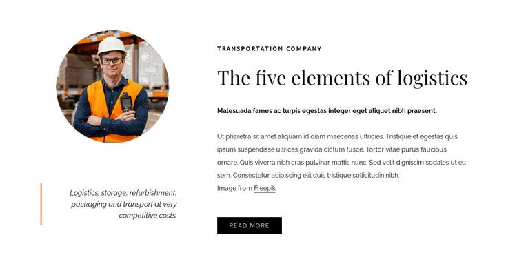 5 Elements of logistics HTML Template