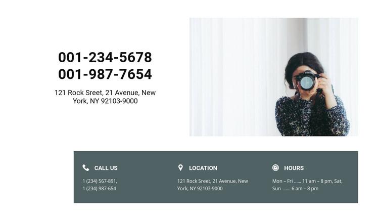 Photographer contacts Website Builder Software
