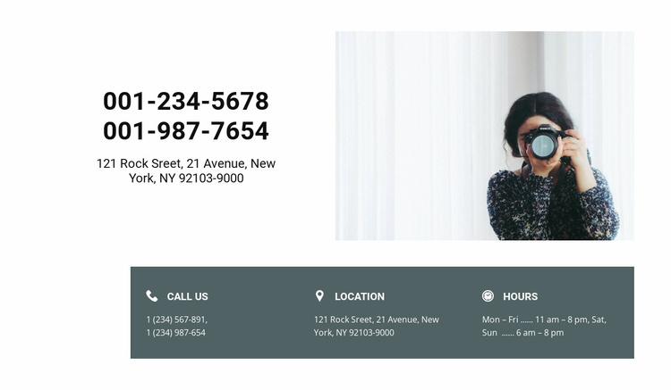 Photographer contacts Website Template