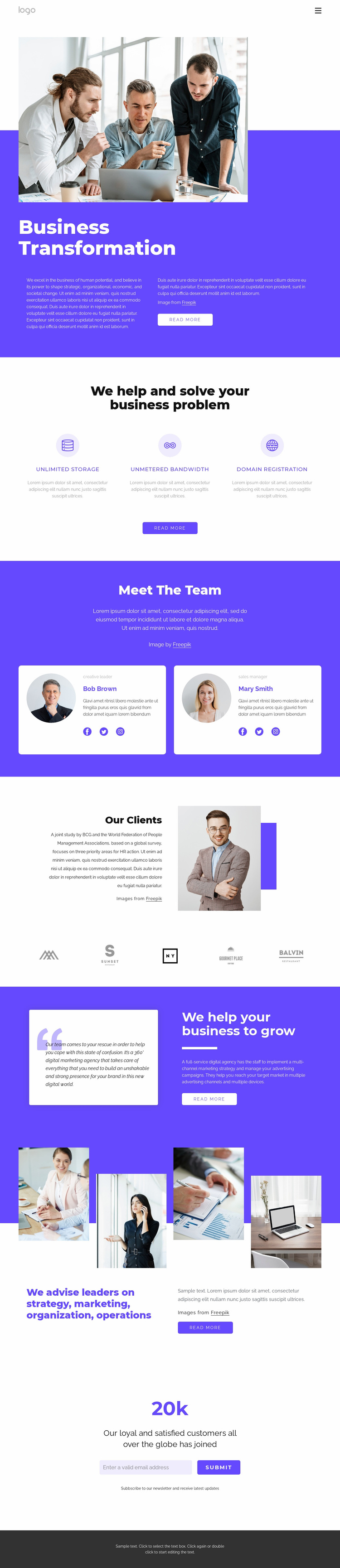 Global management consulting firm Website Template