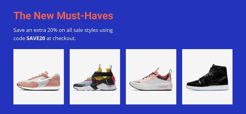 Sports fashion trends Web Page Design
