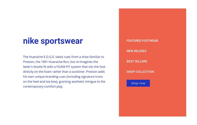 Nike sportswear Website Builder Software