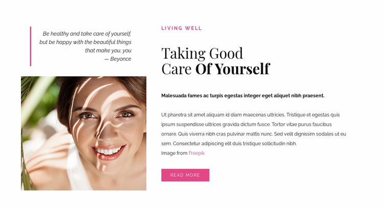 Good care of yourself Website Mockup