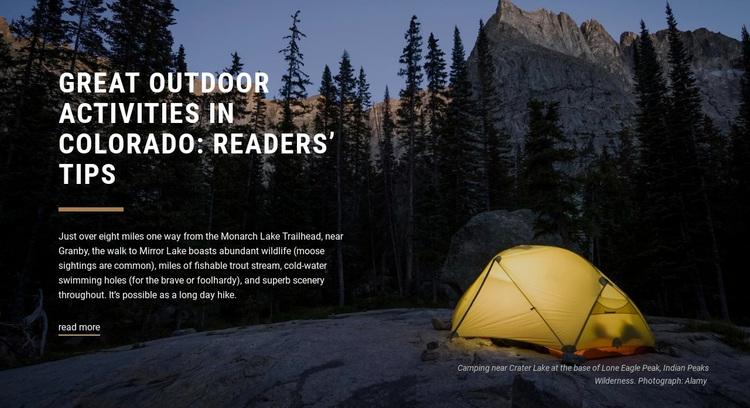 Great outdoor activities  Website Design