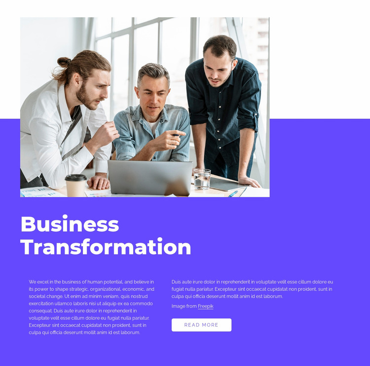 Our work is transformative Website Mockup