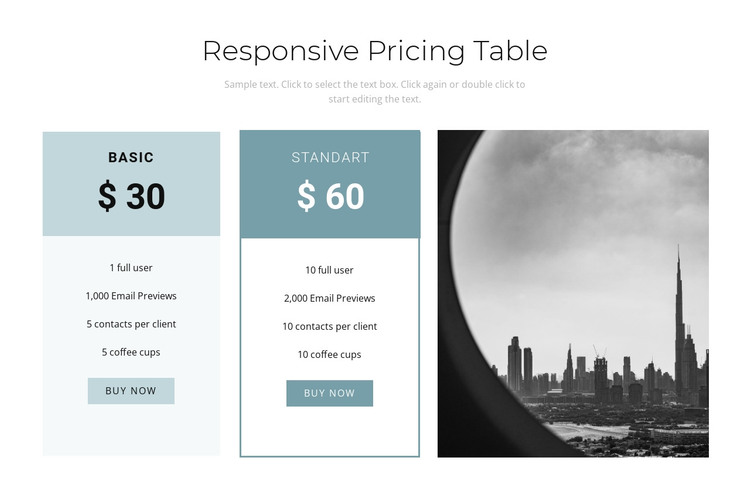 Service cost HTML Template
