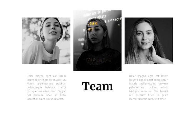 Team of three girls Html Code Example