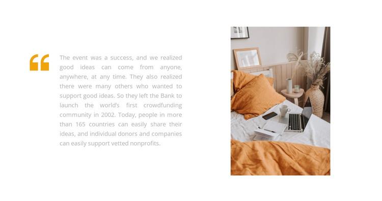Bedroom in orange tone HTML Template