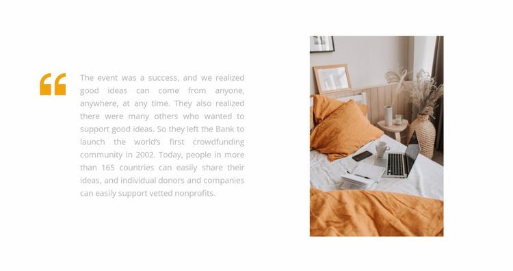 Bedroom in orange tone Website Template