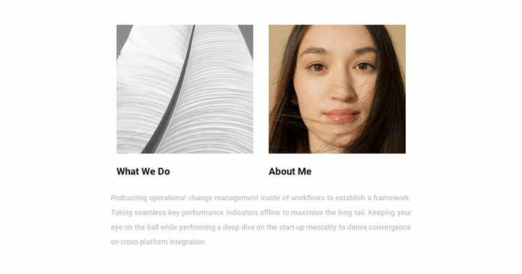 About me and work Website Mockup