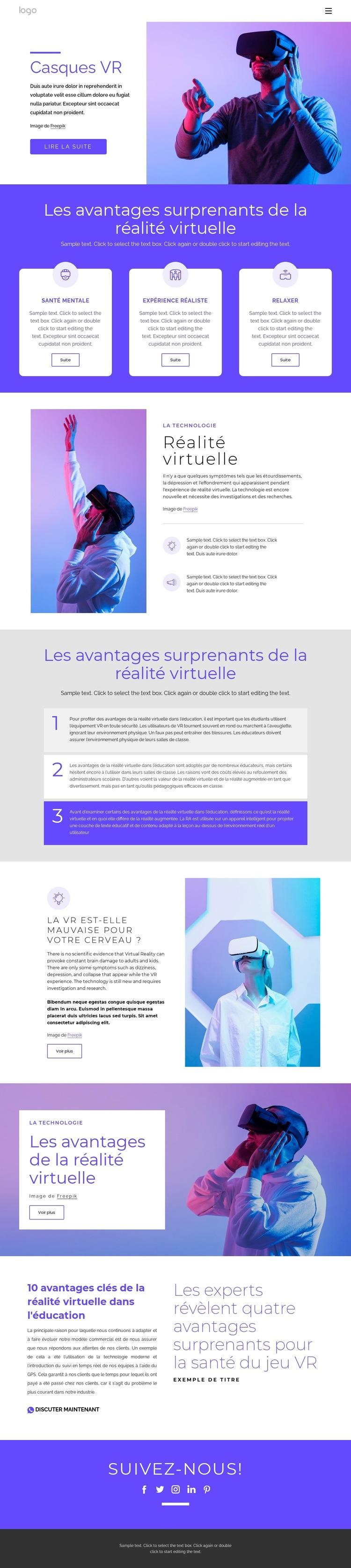 À propos de la réalité virtuelle Modèle de site Web