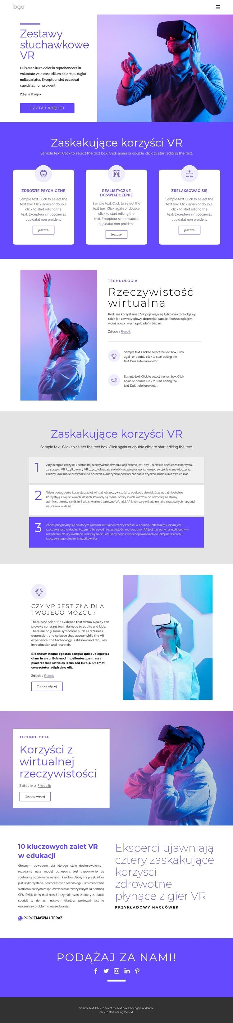 O wirtualnej rzeczywistości Szablon witryny sieci Web