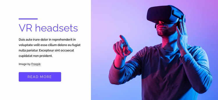 VR games, headsets and more Website Template