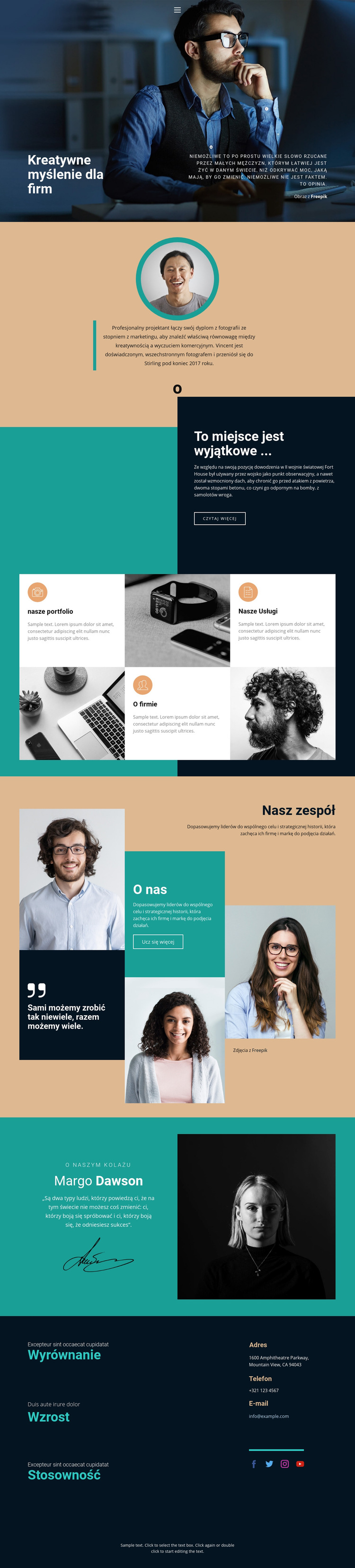 Kreatywny rozwijający się biznes Szablon witryny sieci Web
